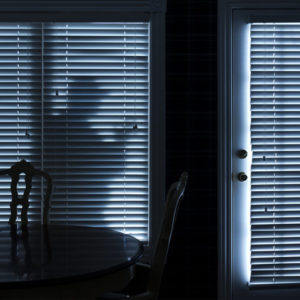 This photo illustrates a silhouette  of a burglar or thief sneeking up to back door at night. View from inside the residence.